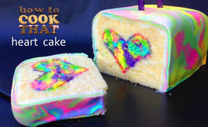 Rainbow Tie Dyed Surprise Heart Cake