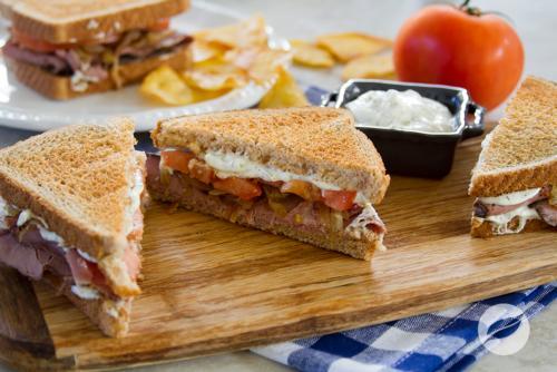 Roast Beef Sandwiches with Caramelized Onion and Horseradish Mayonnaise